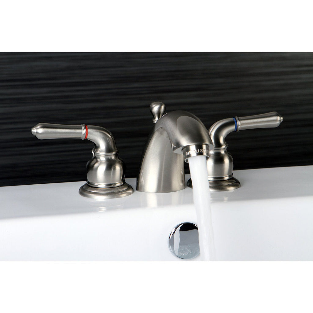 "Classic Two Handle 4"" Mini-Widespread 3-Hole Bathroom Faucet w/Metal Cross - Includes Pop-Up Drain, 1.2 gpm"