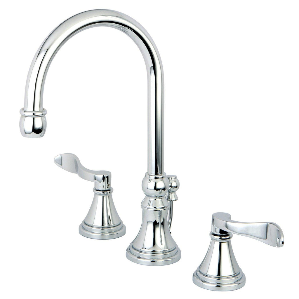 "NuFrench Two Handle 8-16"" Widespread 3-Hole Bathroom Faucet w/Metal Lever - Includes Pop-Up Drain, 1.2 gpm"