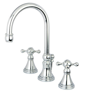 "Governor 8-16"" Widespread 3-Hole Two Handle Cross  Bathroom Faucet w/Metal Cross - Includes Pop-Up Drain, 1.2 gpm"