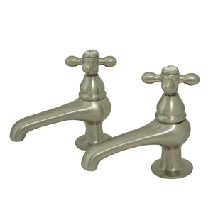 Restoration Two Handle Basin Tap Faucet Set w/Metal Cross, 1.2 gpm