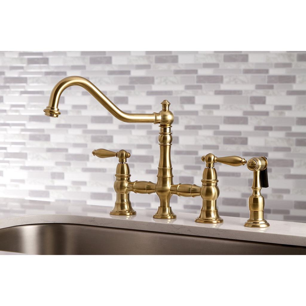 "Restoration Two Handle 8"" Centerset 4-Hole Bridge Kitchen Faucet w/Metal Lever and Matching Side Spray, 1.8 gpm"