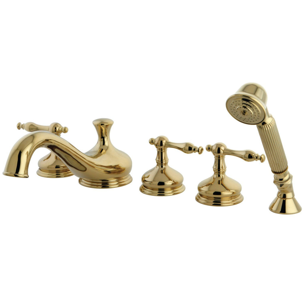 "Roman Two Handle 8-16"" Widespread 5-Hole Deck-Mount Roman Tub Filler Faucet w/Metal lever and Hand Shower, 1.8 gpm & 7.0 gpm"