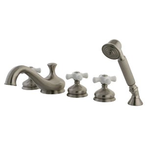 "Classic Two Handle 8-16"" Widespread 5-Hole Deck-Mount Roman Tub Filler Faucet w/Porcelain Cross and Hand Shower, 1.8 gpm & 7.0 gpm"