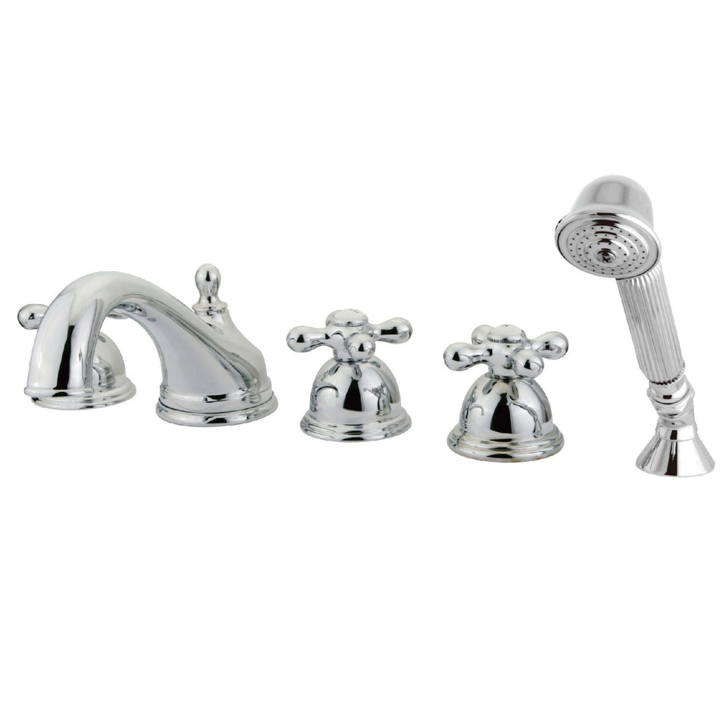 "Classic Two Handle 8-16"" Widespread 5-Hole Deck-Mount Roman Tub Filler Faucet w/Metal Cross and Hand Shower, 1.8 gpm & 7.0 gpm"
