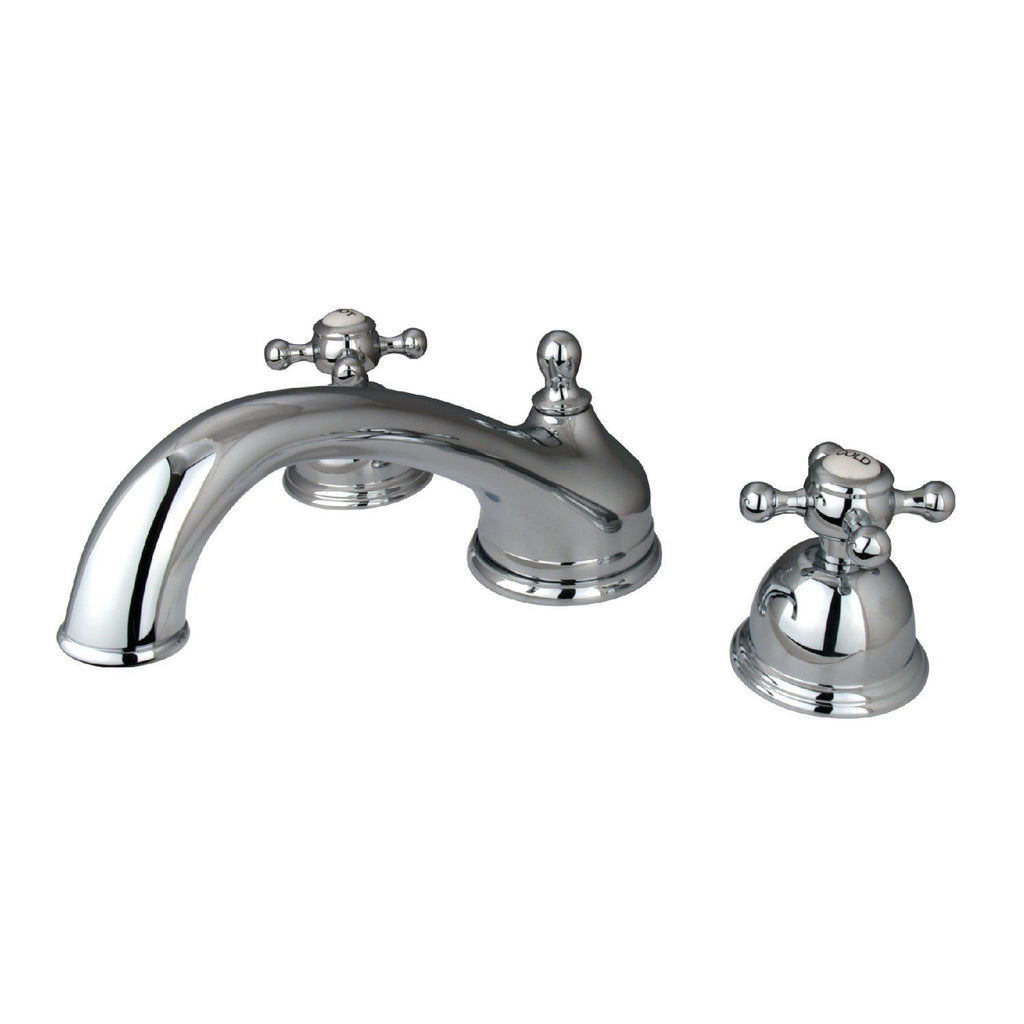 "Vintage Two Handle 8-16"" Widespread 3-Hole Deck-Mount Roman Tub Filler Faucet w/Metal Cross, 7.0 gpm"