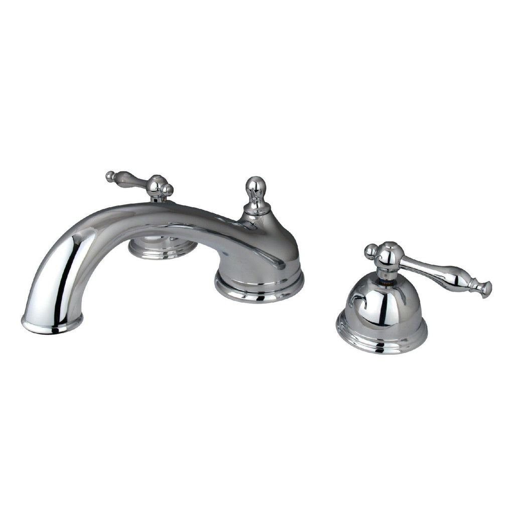 "Vintage Two Handle 8-16"" Widespread 3-Hole Deck-Mount Roman Tub Filler Faucet w/Metal lever, 7.0 gpm"