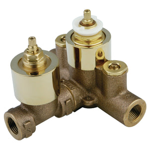 Thermostatic Valve With Volume Control, Polished Brass