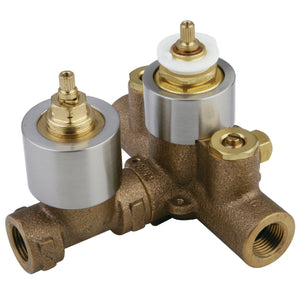 Thermostatic Valve With Volume Control, Brushed Nickel