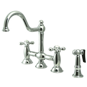 "Restoration Two Handle 8"" Centerset 4-Hole Bridge Kitchen Faucet w/Metal Cross and Matching Side Spray, 1.8 gpm"