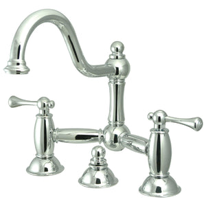 Restoration Two-Handle 3-Hole Deck Mount Bridge Bathroom Faucet with Brass Pop-Up