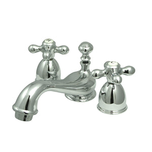 Restoration Two-Handle 3-Hole Deck Mount Mini-Widespread Bathroom Faucet with Brass Pop-Up
