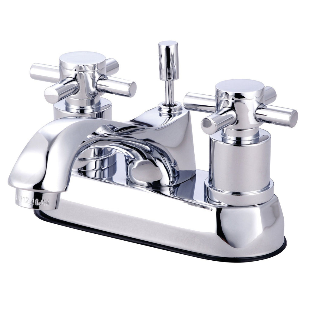 "Concord Two-Handle 3-Hole Deck Mount 4"" Centerset Bathroom Faucet with Brass Pop-Up"