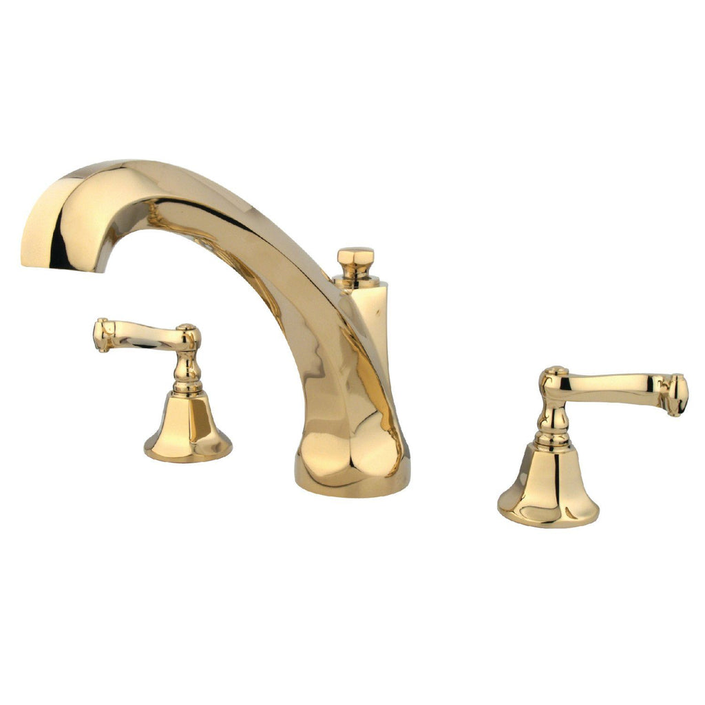 "Two Handle 8-16"" Widespread 3-Hole Deck-Mount Roman Tub Filler Faucet w/Metal Lever, 7.0 gpm"