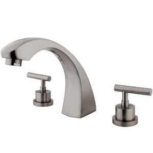 "Manhattan Two Handle 8-16"" Widespread 3-Hole Deck-Mount Roman Tub Filler Faucet w/Metal Lever, 7.0 gpm"