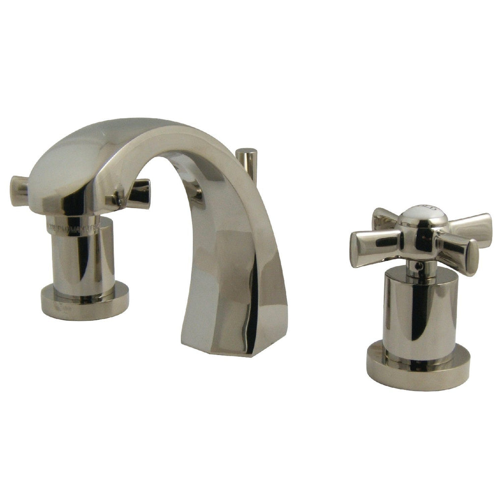 "Millennium Two Handle 8-16"" Widespread 3-Hole Bathroom Faucet w/Metal Cross - Includes Pop-Up Drain, 1.2 gpm"