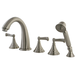 "Royale Two Handle 8-16"" Widespread 3-Hole Deck-Mount Roman Tub Filler Faucet w/Metal Lever, 7.0 gpm"