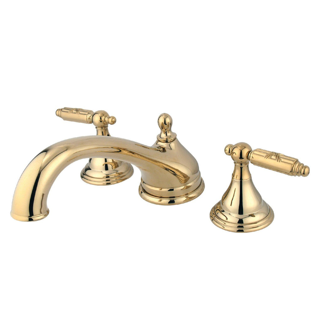 "Georgian Two Handle 8-16"" Widespread 3-Hole Deck-Mount Roman Tub Filler Faucet w/Metal lever, 7.0 gpm"