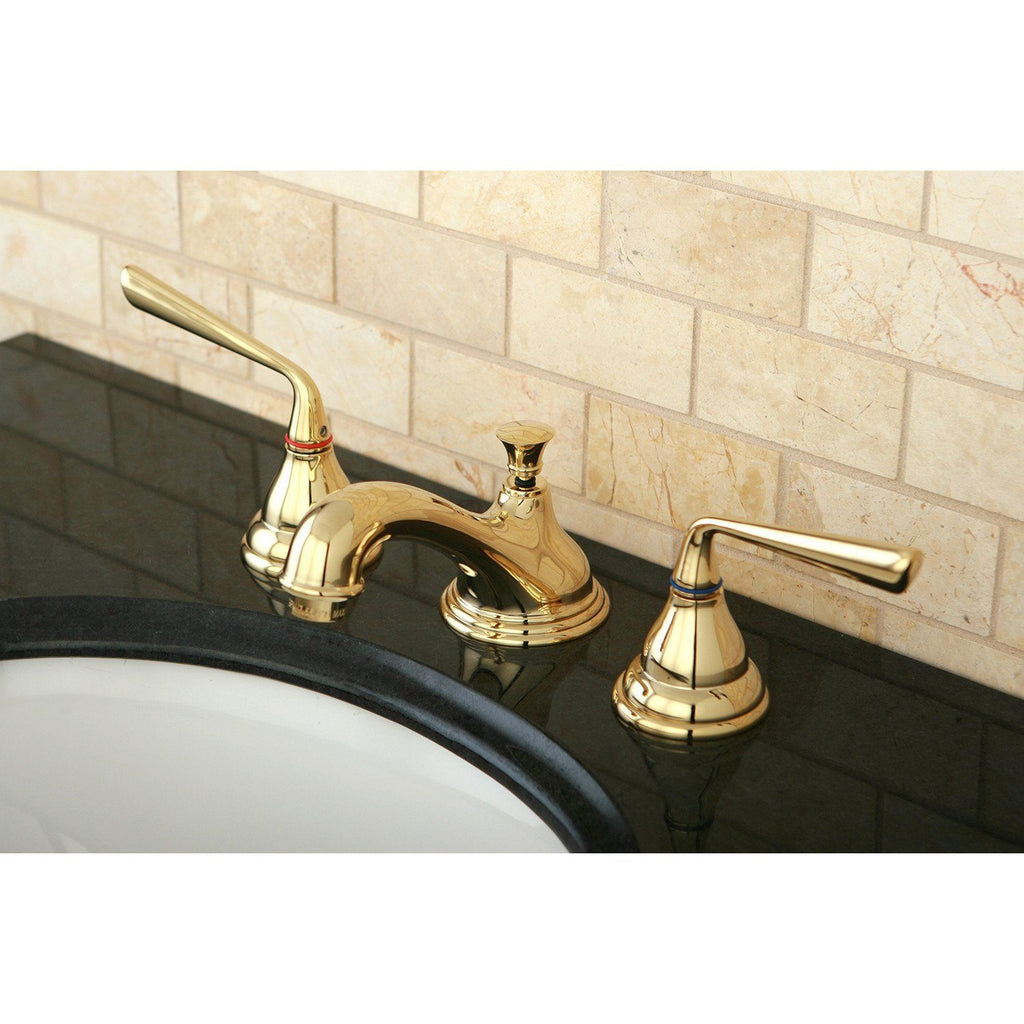 "Silver Sage Two Handle 8-16"" Widespread 3-Hole Bathroom Faucet w/Metal Lever - Includes Pop-Up Drain, 1.2 gpm"