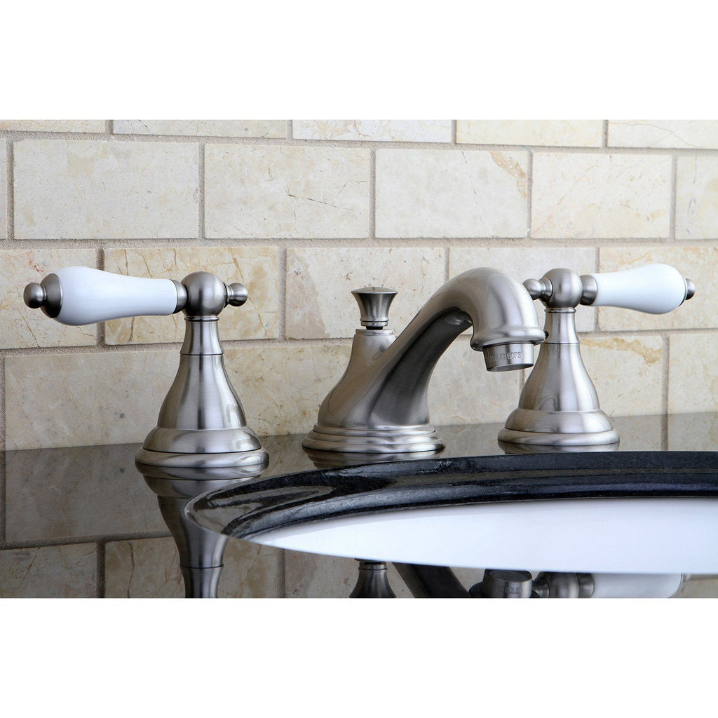 "Royale Two Handle 8-16"" Widespread 3-Hole Bathroom Faucet w/Porcelain Lever - Includes Pop-Up Drain, 1.2 gpm"
