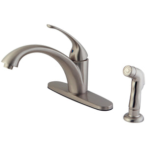 Vintage Single Handle 2 or 4 Hole Kitchen Faucet w/Metal Lever, Optional Deck Plate and Side Spray, 1.8 gpm