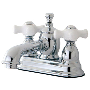 "English Country Two Handle 4"" Centerset 3-Hole Bathroom Faucet w/Porcelain Cross - Includes Pop-Up Drain, 1.2 gpm"