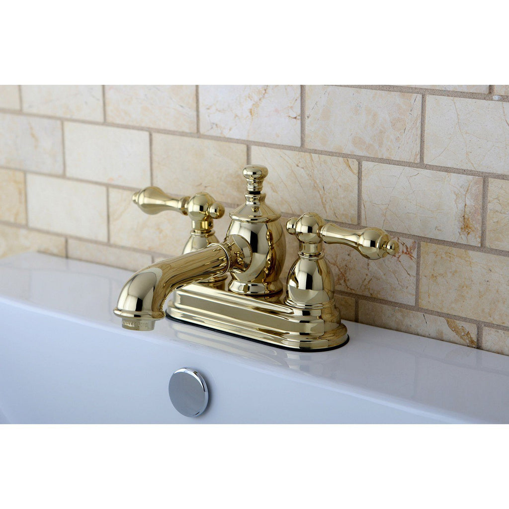 "English Country Two Handle 4"" Centerset 3-Hole Bathroom Faucet w/Metal Lever - Includes Pop-Up Drain, 1.2 gpm"