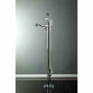 Royale Single Handle Floor-Mount Freestanding Tub Filler Faucet w/Metal Lever and Handshower, 1.8 gpm and 6.9 gpm