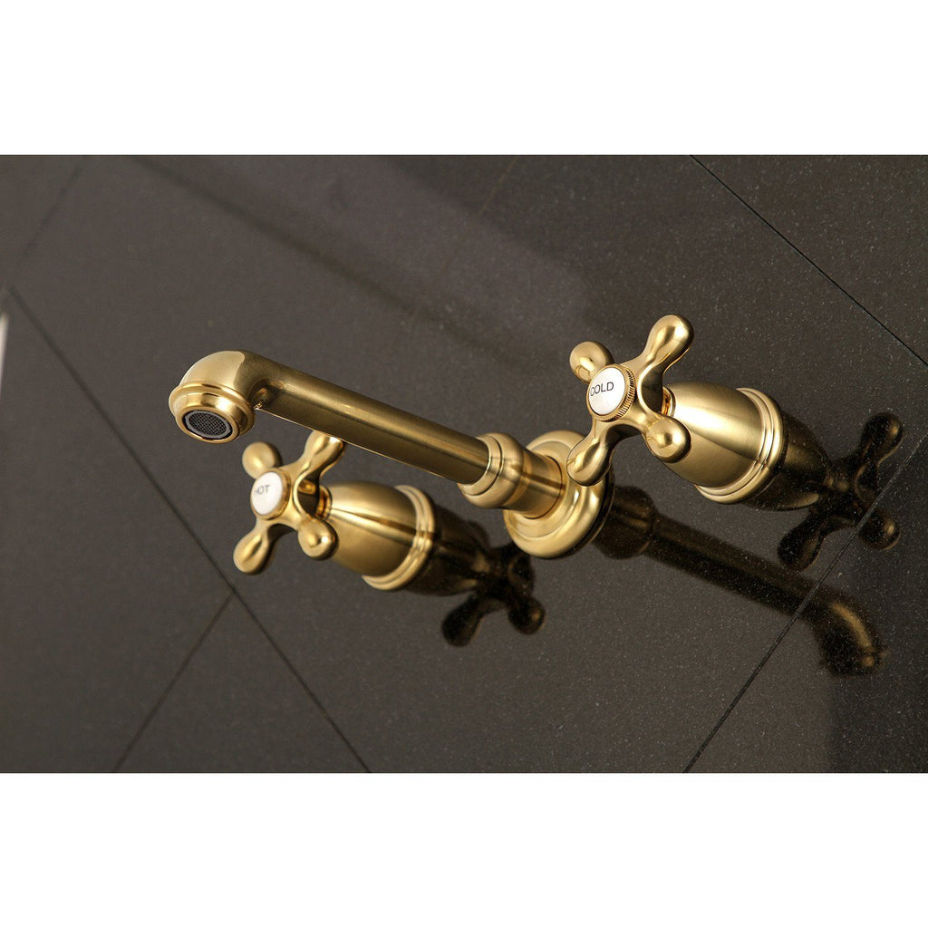 English Country Two-Handle 3-Hole Wall Mount Roman Tub Faucet