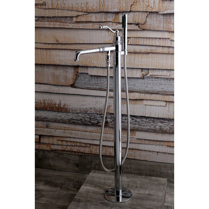 English Country Single Handle Floor-Mount Freestanding Tub Filler Faucet w/Metal Lever and Handshower, 1.8 gpm and 6.9 gpm