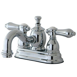 "Heirloom Two Handle 4"" Centerset 3-Hole Bathroom Faucet w/Metal Lever - Includes Pop-Up Drain, 1.2 gpm"