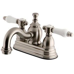 "Bel-Air Two Handle 4"" Centerset 3-Hole Bathroom Faucet w/Porcelain Lever - Includes Pop-Up Drain, 1.2 gpm"