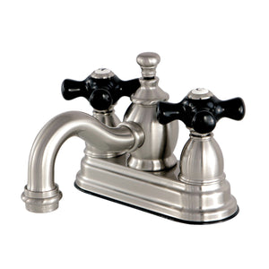 "Duchess Two Handle 4"" Centerset 3-Hole Bathroom Faucet w/Porcelain Cross - Includes Pop-Up Drain, 1.2 gpm"