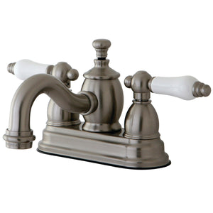 "English Country Two Handle 4"" Centerset 3-Hole Bathroom Faucet w/Porcelain Lever - Includes Pop-Up Drain, 1.2 gpm"