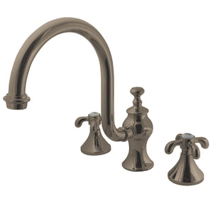 "French Country Two Handle 8-16"" Widespread 3-Hole Deck-Mount Roman Tub Filler Faucet w/Metal Cross, 7.0 gpm"