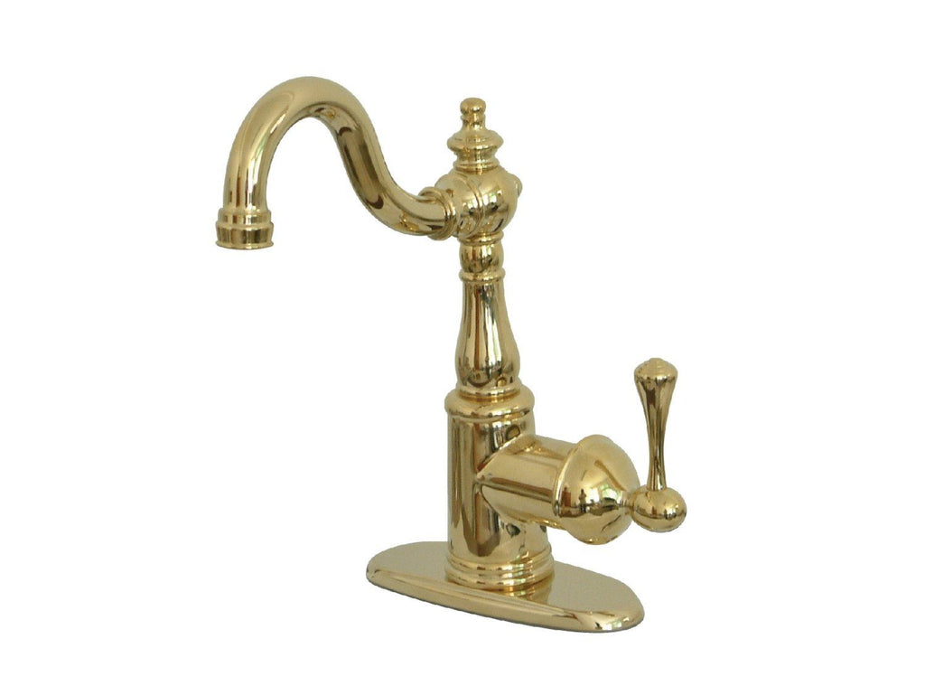 "English Vintage Single Handle 4"" Centerset 3-Hole Bar Prep Faucet w/Metal Lever, 1.5 gpm"
