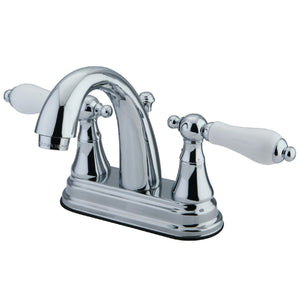 "English Vintage Two Handle 4"" Centerset 3-Hole Bathroom Faucet w/Porcelain Lever - Includes Pop-Up Drain, 1.2 gpm"