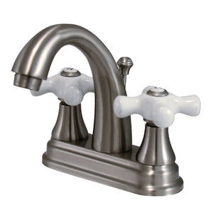 "English Vintage Two Handle 4"" Centerset 3-Hole Bathroom Faucet w/Porcelain Cross - Includes Pop-Up Drain, 1.2 gpm"