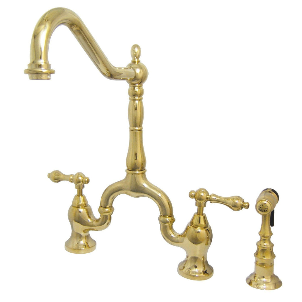 "English Country Two Handle 4-8"" Adjustable Centers 3-Hole Bridge Faucet w/Metal Lever and Matching Side Spray, 1.8 gpm"