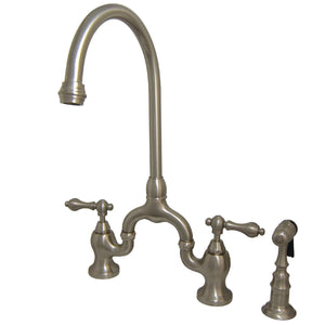 "English Country Two Handle 4-8"" Adjustable Centers 3-Hole Bridge Kitchen Faucet w/Metal Lever and Matching Side Spray, 1.8 gpm"