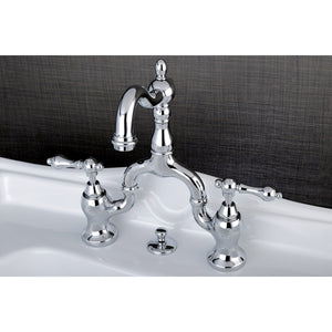 "English Country Two Handle 4-8"" Adjustable Spread 3-Hole Bridge Bathroom Faucet w/Metal Lever - Includes Pop-Up Drain, 1.2 gpm"