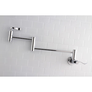 NuWave Two Handle Wall Mount 1-Hole Pot Filler Kitchen Faucet w/Metal Lever, 3.8 gpm