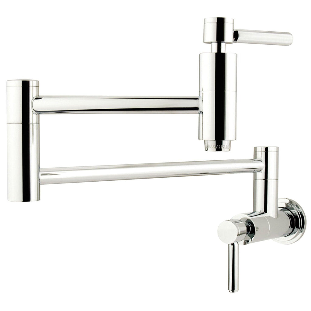 Concord Two Handle Wall Mount 1-Hole Pot Filler Kitchen Faucet w/Metal Lever, 3.8 gpm