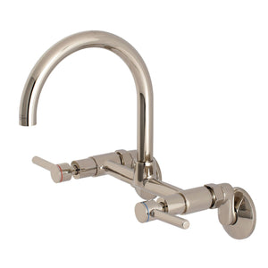"Concord Two Handle 8"" Adjustable Center 2-Hole Wall Mount Kitchen Faucet w/Metal Lever, 1.8 gpm"