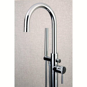 Concord Single Handle Floor-Mount Freestanding Tub Filler Faucet w/Metal Lever and Handshower, 1.8 gpm & 7.0 gpm