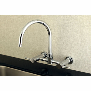 "Concord Two Handle 8"" Centerset 2-Hole Wall Mount Kitchen Faucet w/Metal Lever, 1.8 gpm"