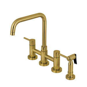 Concord Two-Handle 4-Hole Deck Mount Bridge Kitchen Faucet with Brass Sprayer