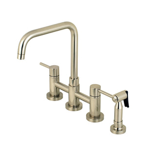 "Concord Two Handle 8"" Centerset 4-Hole Bridge Kitchen Faucet w/Metal Lever and Matching Side Spray, 1.8 gpm"