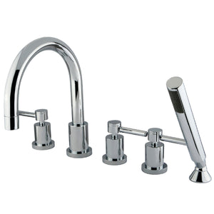 "Concord Two Handle 8-16"" Widespread 5-Hole Deck-Mount Roman Tub Filler Faucet w/Metal Lever and Hand Shower, 1.8 gpm & 7.0 gpm"