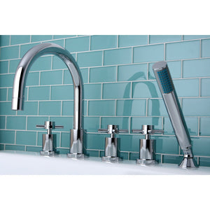 "Concord Two Handle 8-16"" Widespread 5-Hole Deck-Mount Roman Tub Filler Faucet w/Metal Cross and Hand Shower, 1.8 gpm & 7.0 gpm"
