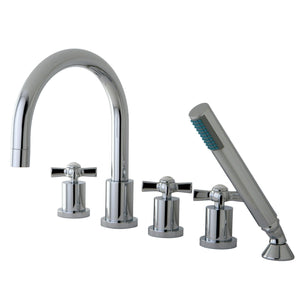 "Millennium Two Handle 8-16"" Widespread 5-Hole Deck-Mount Roman Tub Filler Faucet w/Metal Cross and Hand Shower, 1.8 gpm & 7.0 gpm"